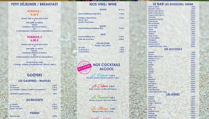 menu pizzeria Océane